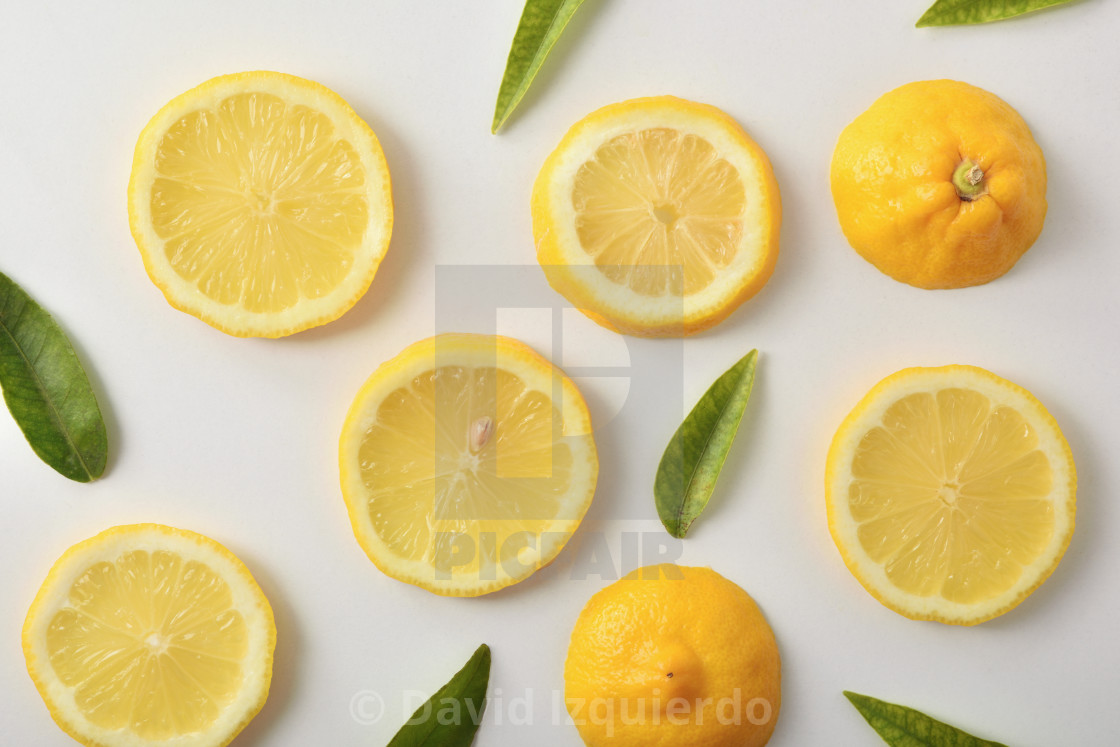 """""""Several lemon slices and leaves on white table top"""" stock image"""