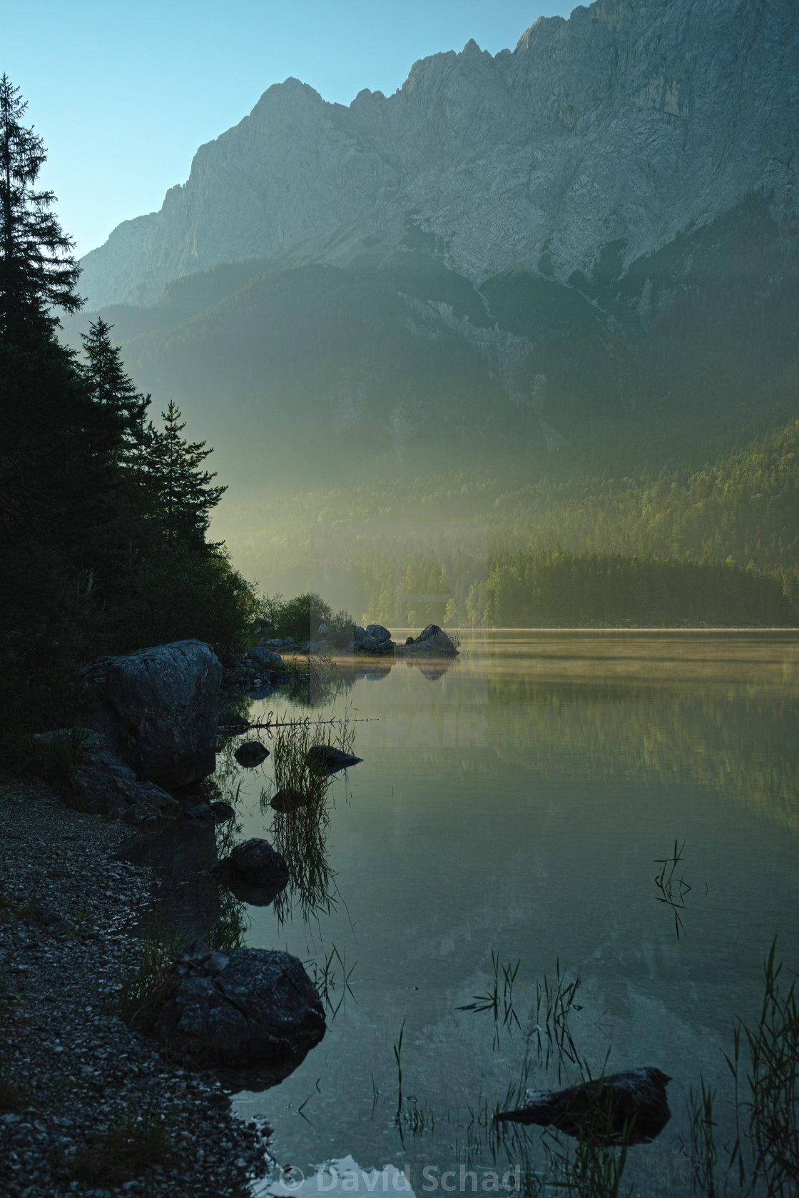 """Eibsee with Mountains in Background"" stock image"