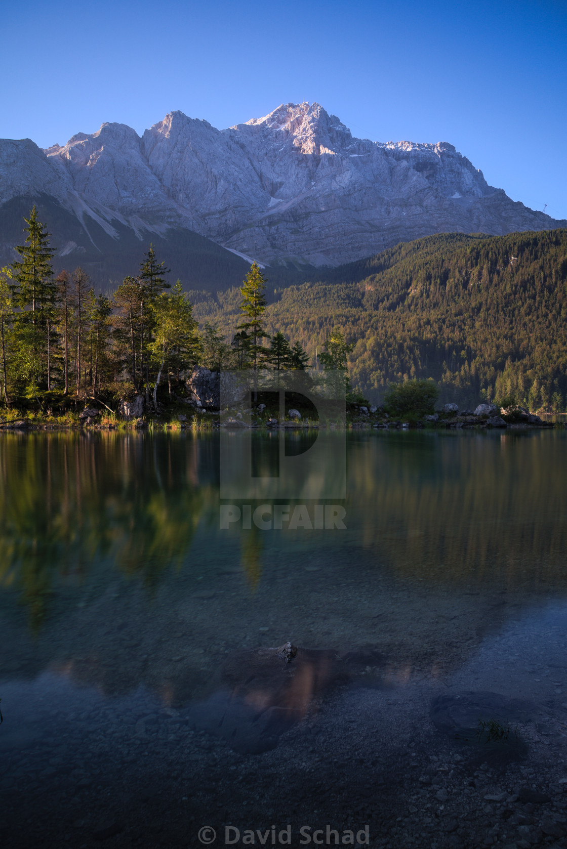 """Eibsee with Zugspitze"" stock image"