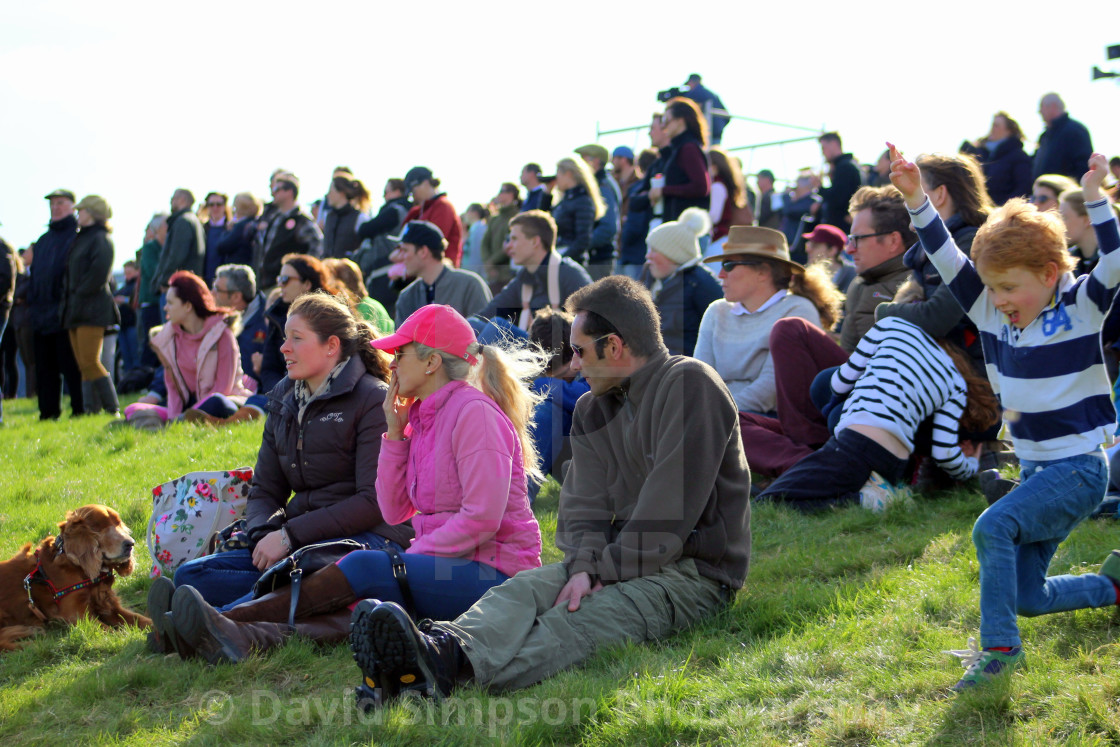 """Crowd watching horse racing"" stock image"