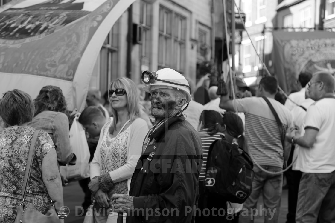 """""""Coal dust and a pit helmet on Durham Miners' Gala day"""" stock image"""