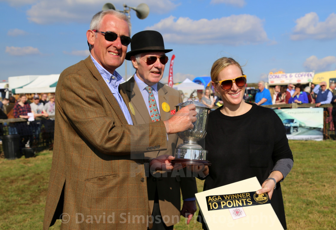 """""""Zara Tindall is presented with a trophy at Paxford point-to-point"""" stock image"""