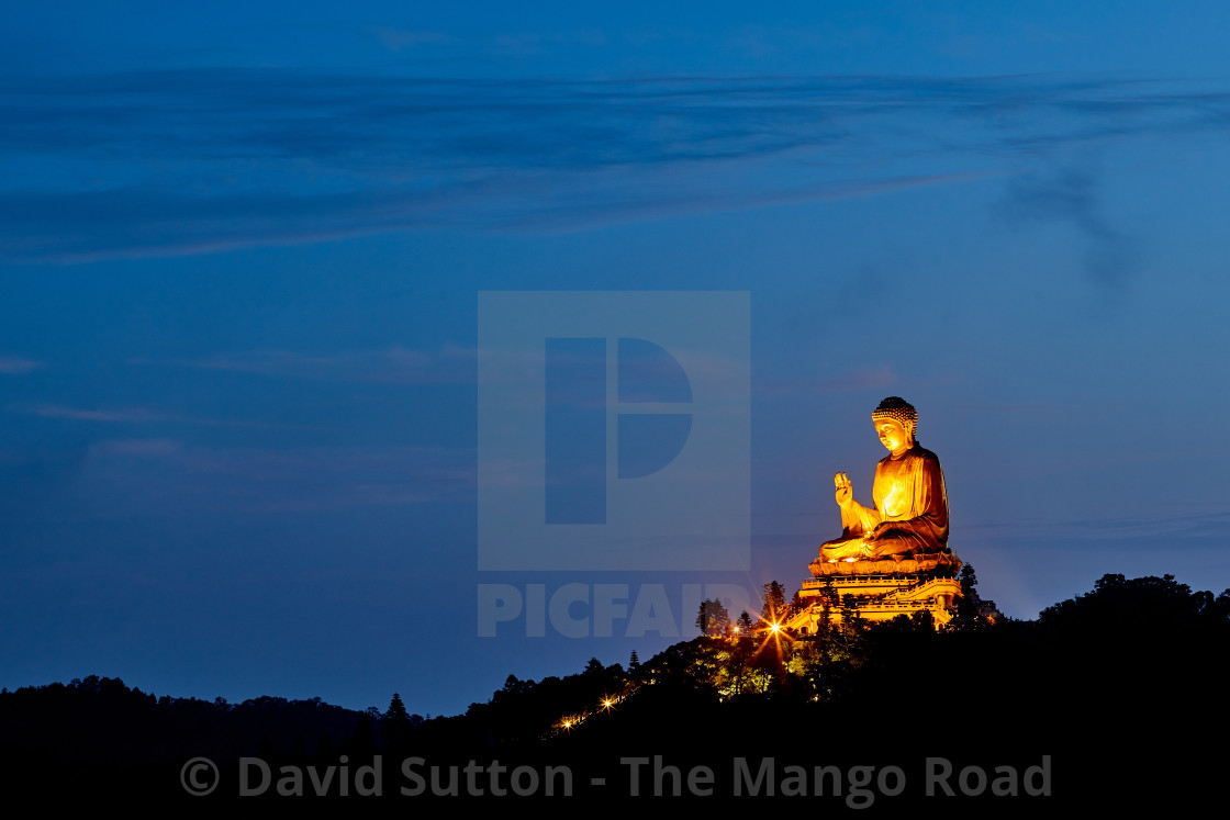 """""""Tian Tan Buddha, also known as the Big Buddha at the Po Lin Monastery on..."""" stock image"""