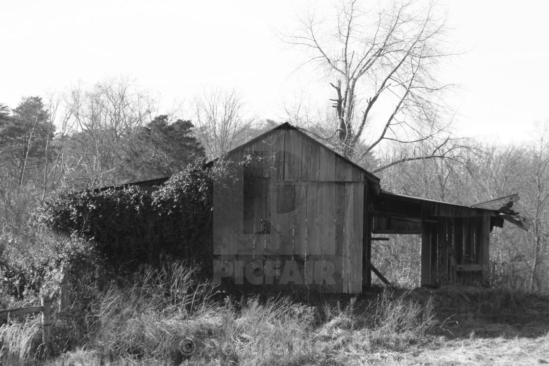 """Weathered Barn No. 5 Black & White"" stock image"