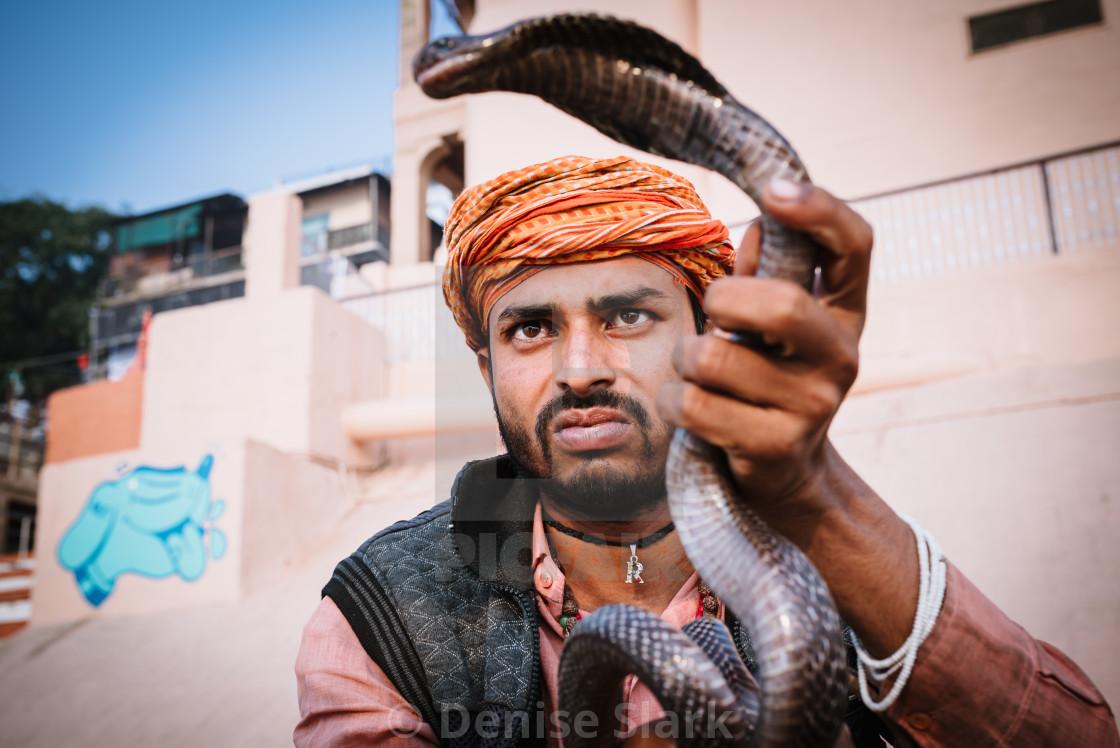 """""""Snake charmer in Varanasi"""" stock image"""