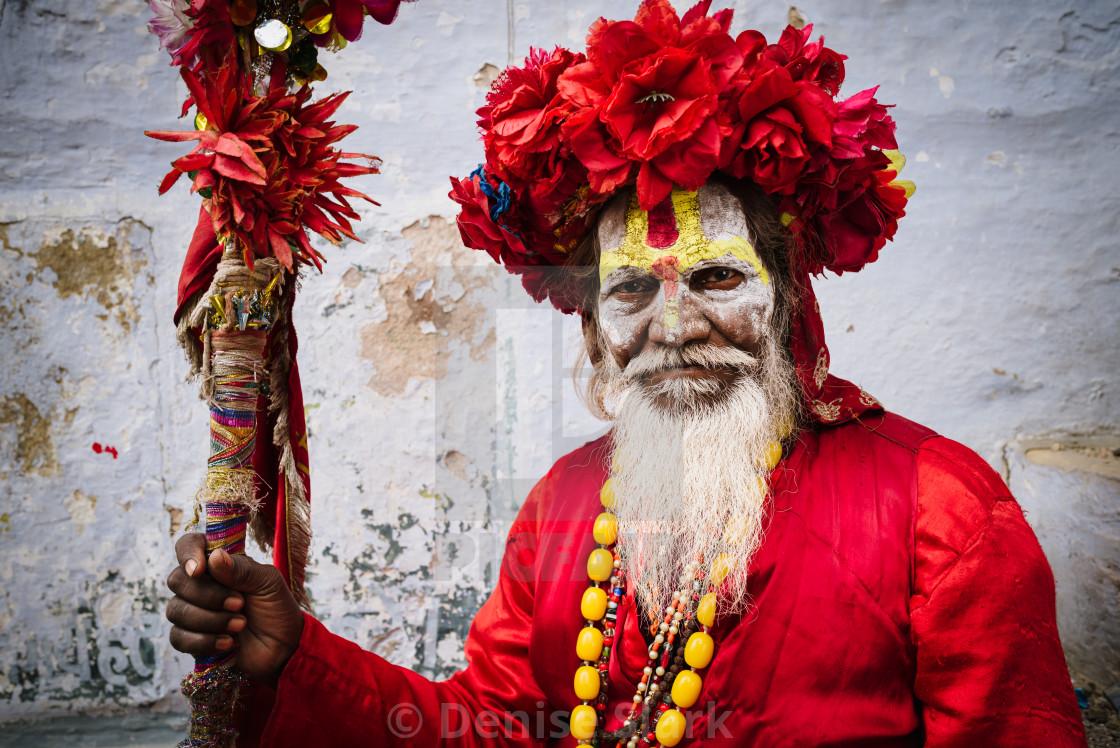 """Holy man in Varanasi, India"" stock image"