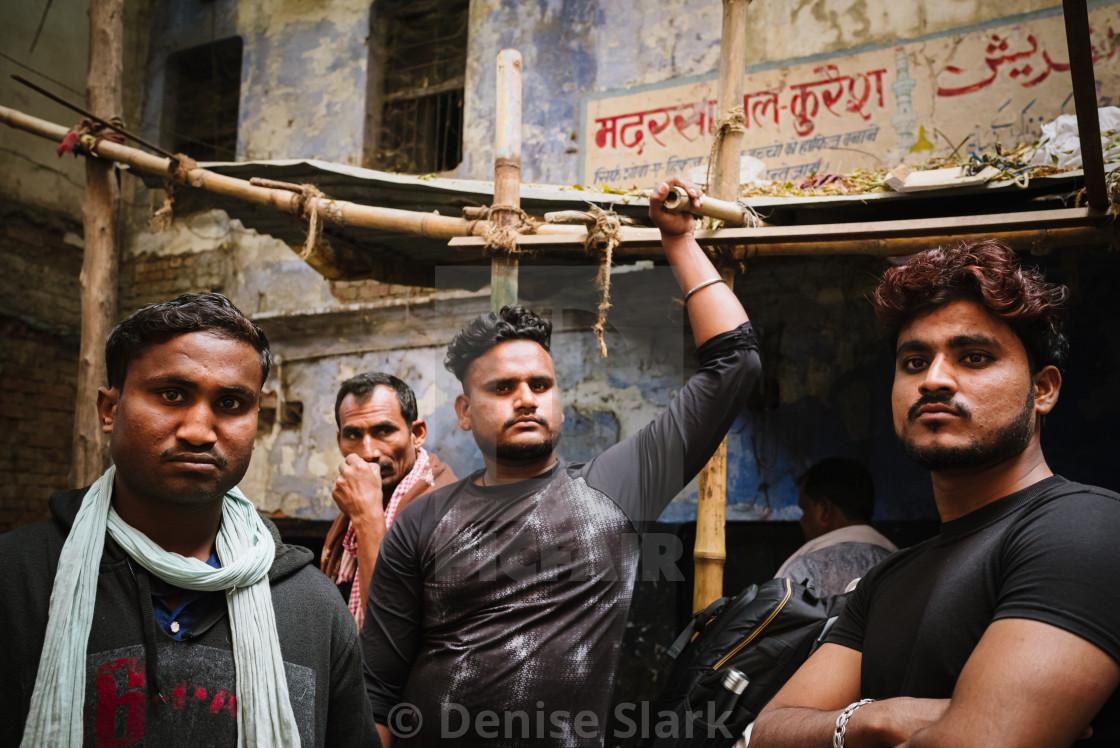 """Varanasi goat market sellers"" stock image"