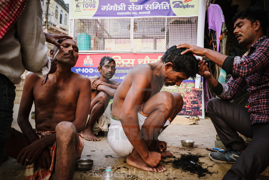 """""""Indian barber's street stall"""" stock image"""