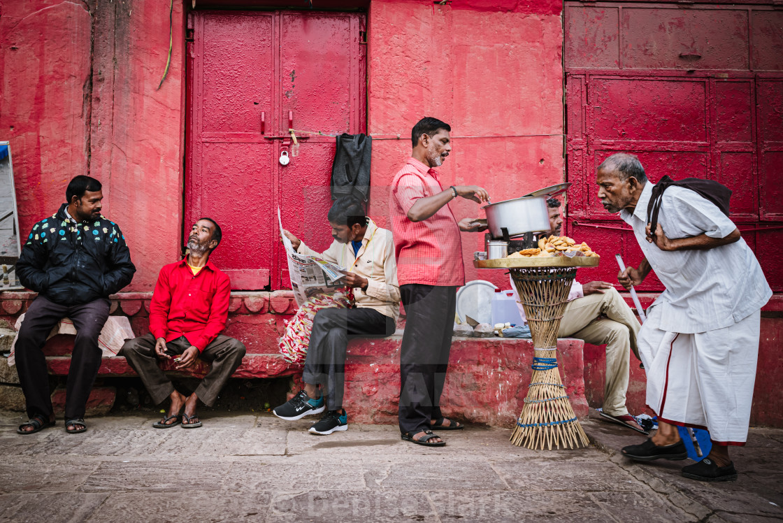 """Varanasi street stall scene"" stock image"