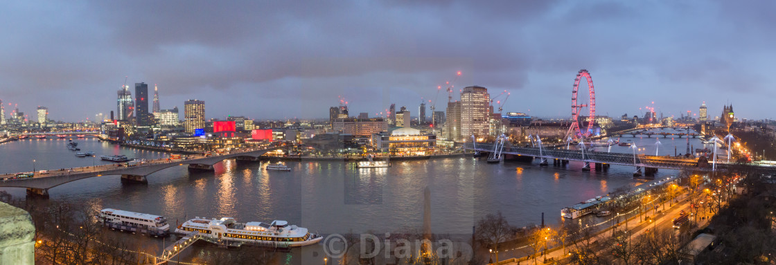 """A panorama of the river Thames overlooking the Southbank, London"" stock image"