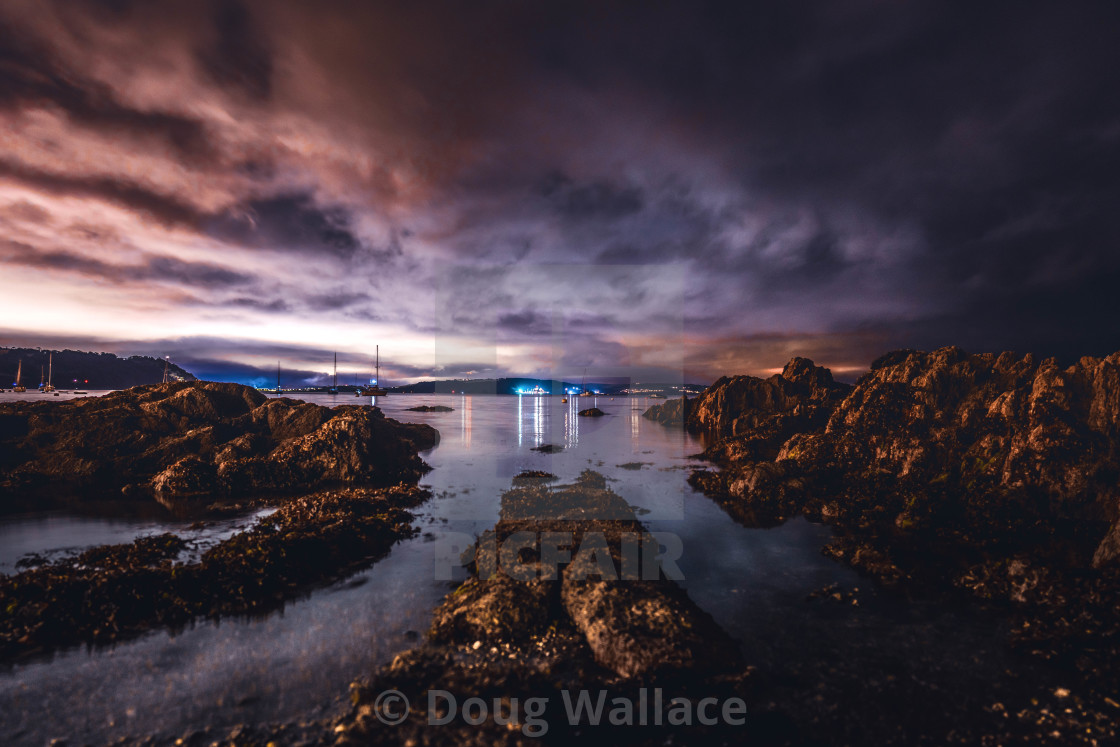"""A nightscape from Cawsand Beach, Cornwall UK."" stock image"