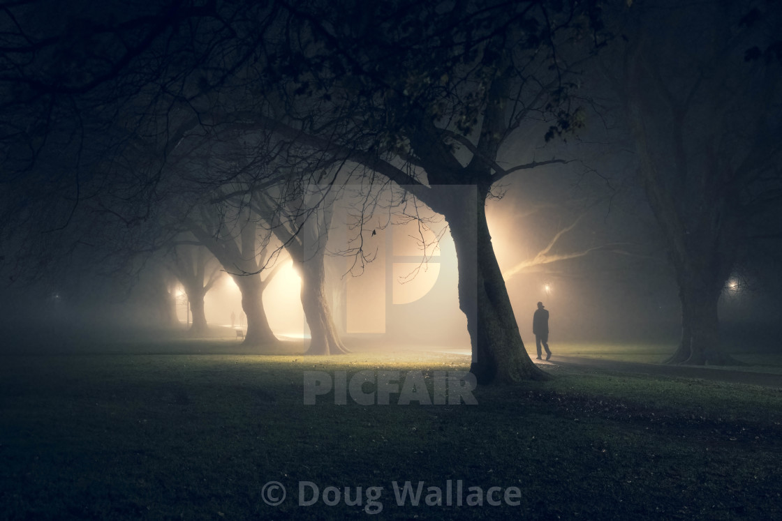 A foggy evening from Jesus Green, Cambridge UK.