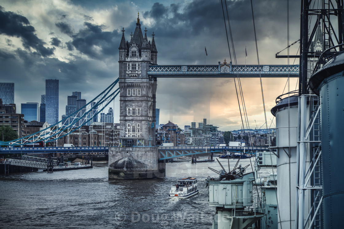 Tower Bridge from HMS Belfast, London UK.