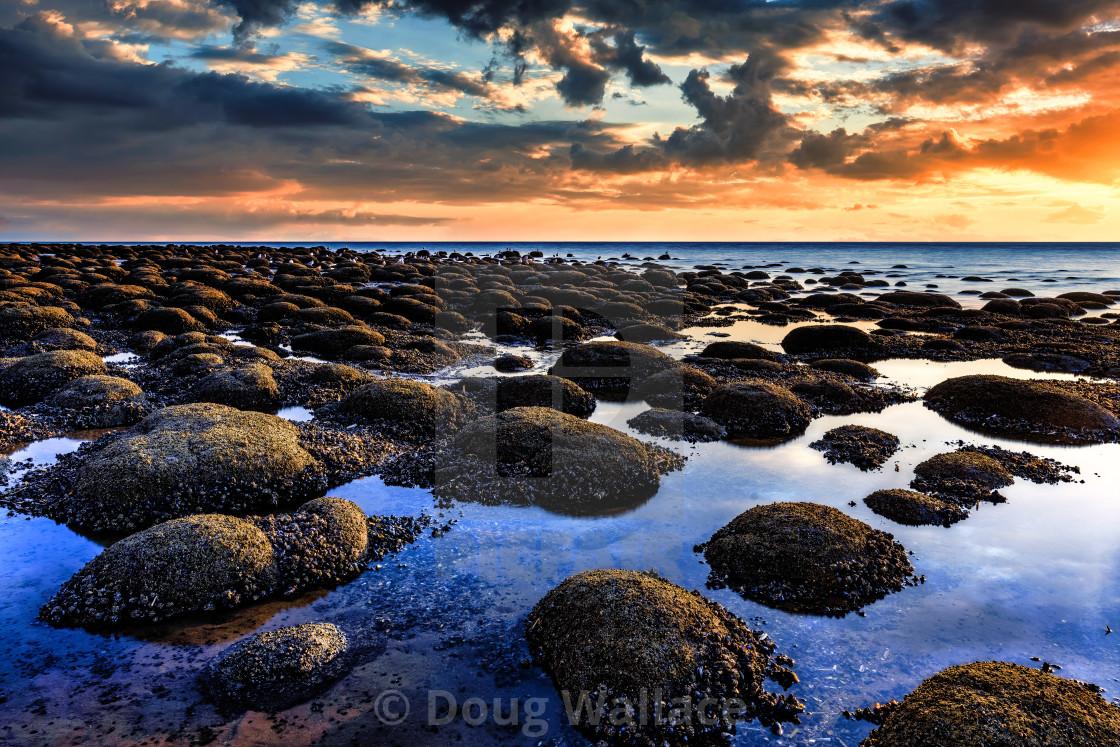 """""""Golden hour from Hunstanton beach, UK."""" stock image"""