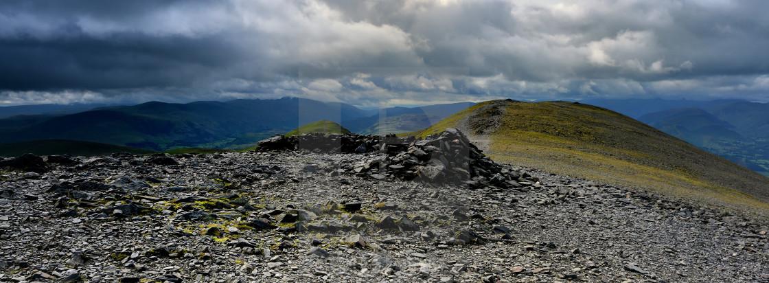 """The summit shelter of Skiddaw"" stock image"