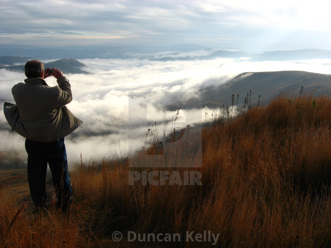 """""""Taking photos of the mist over the Ithala Game reserve"""" stock image"""