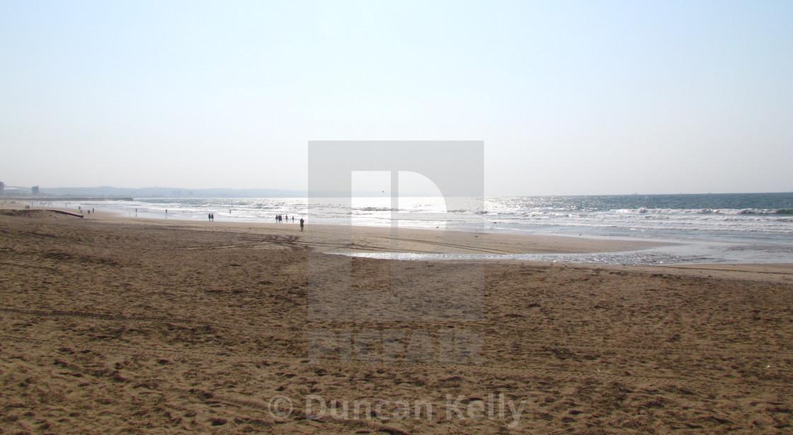 """Durban's Addington beach in the early morning."" stock image"