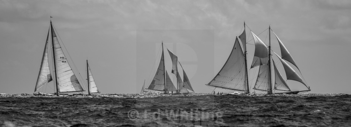 """""""Old sails in Black and White"""" stock image"""