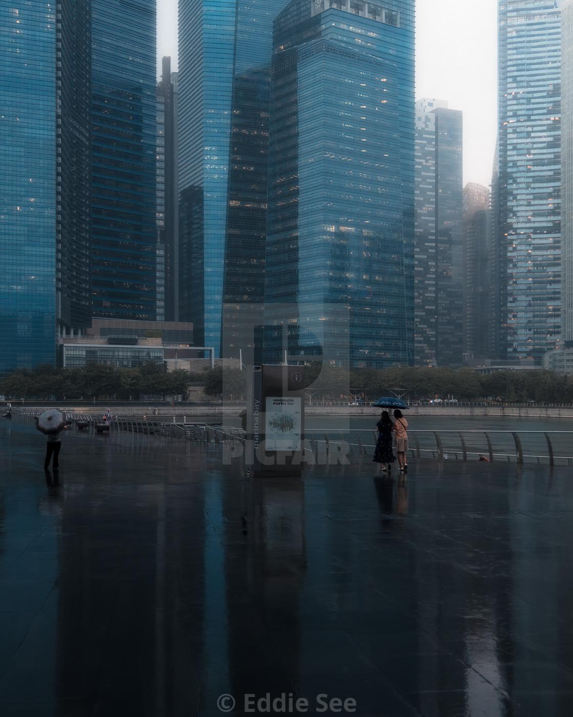 """""""Marina Bay wet reflection"""" stock image"""