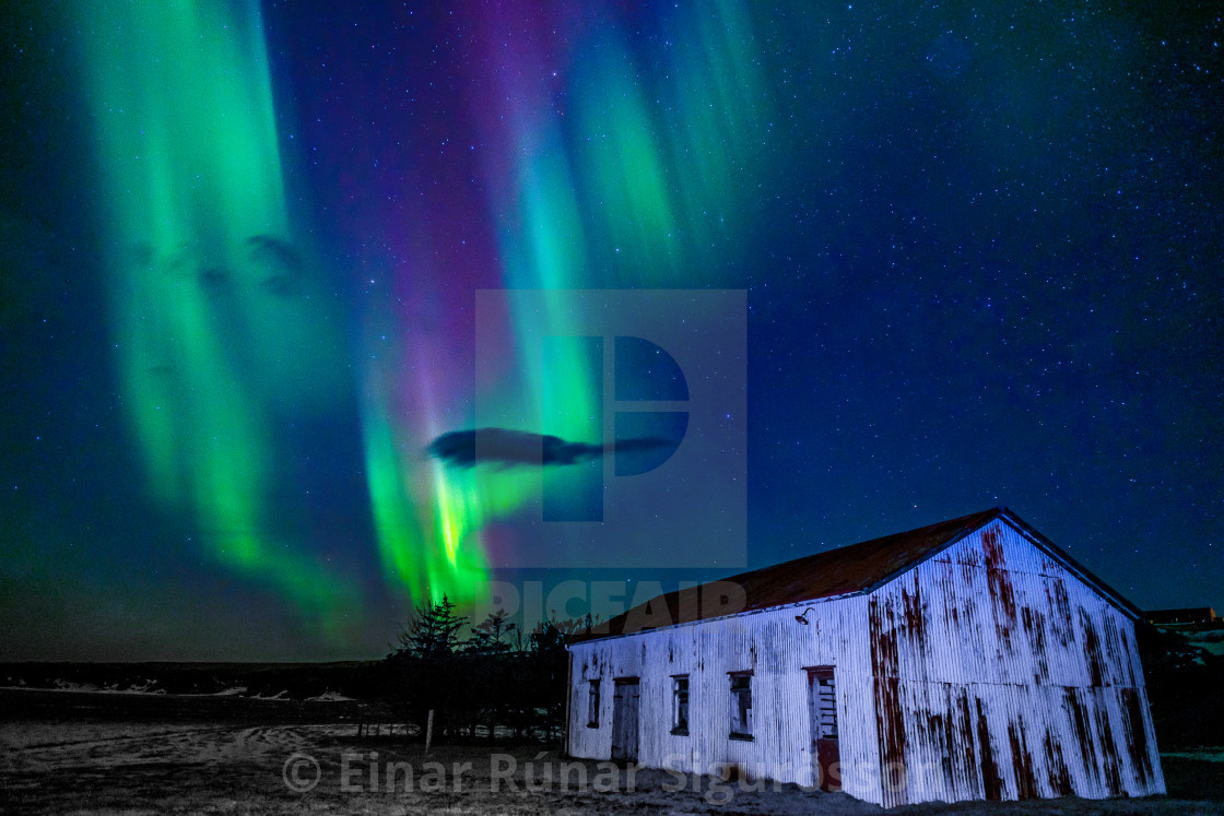 """Northern Lights over Gamlabúð"" stock image"