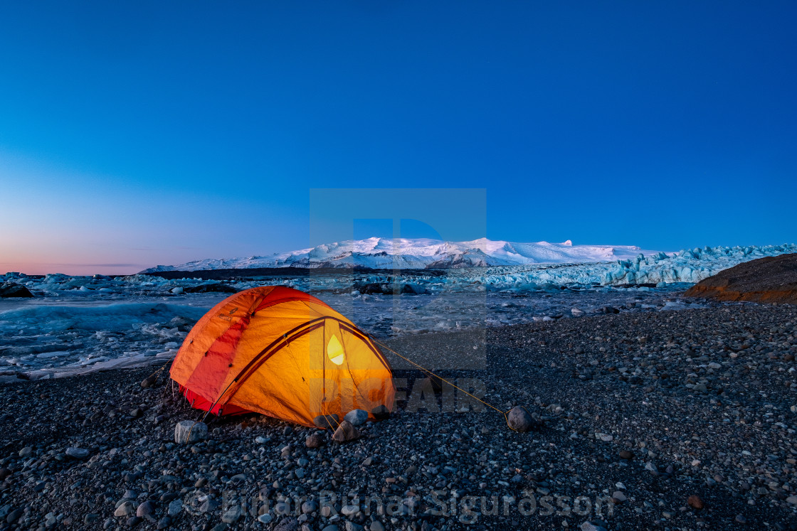 """Winter Camping at Jökulsárlón"" stock image"