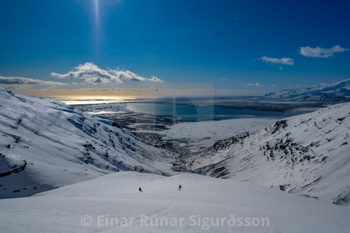 """Skiing Down Veðurárdalur"" stock image"