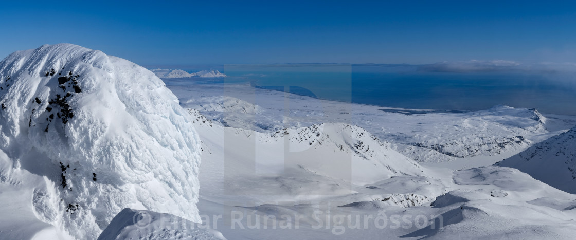 """View from Birnudalstindur to Höfn"" stock image"