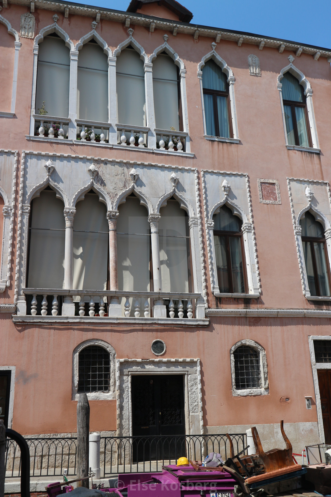 """""""Old pink building in Venice."""" stock image"""