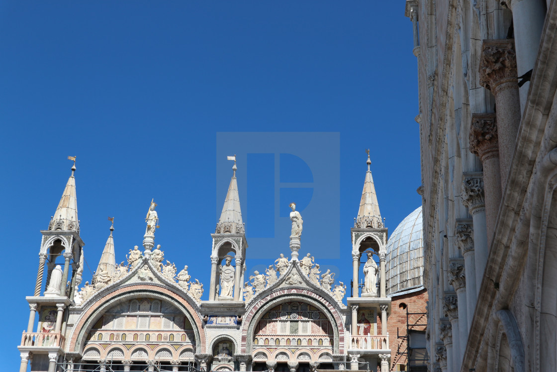 """Top of the Saint Marc Cathedral in Venice"" stock image"