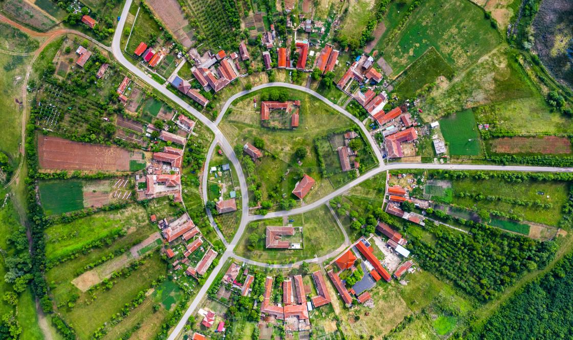"""Charlottenburg, round village in Banat, Romania"" stock image"