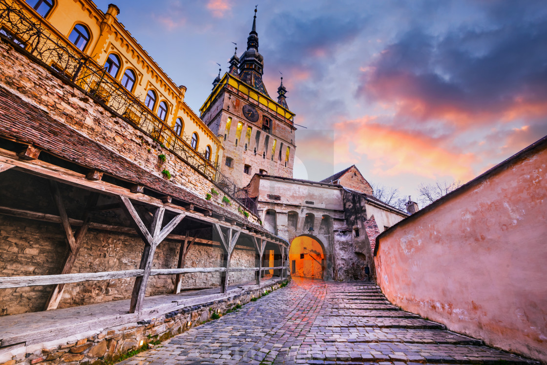"""The Clock Tower of Sighisoara - Transylvania, Romania"" stock image"