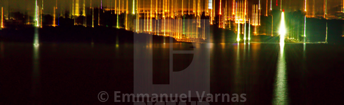 """small city lights from a distance"" stock image"