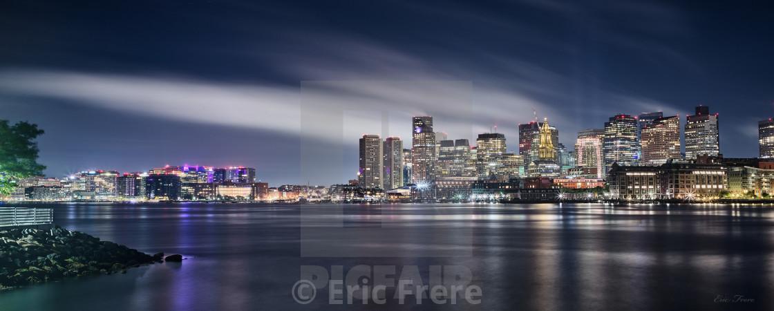 """Boston Harbor at Night"" stock image"