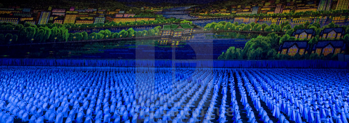 """Panoramic view of the Arirang mass games with North Korean performers in may..."" stock image"