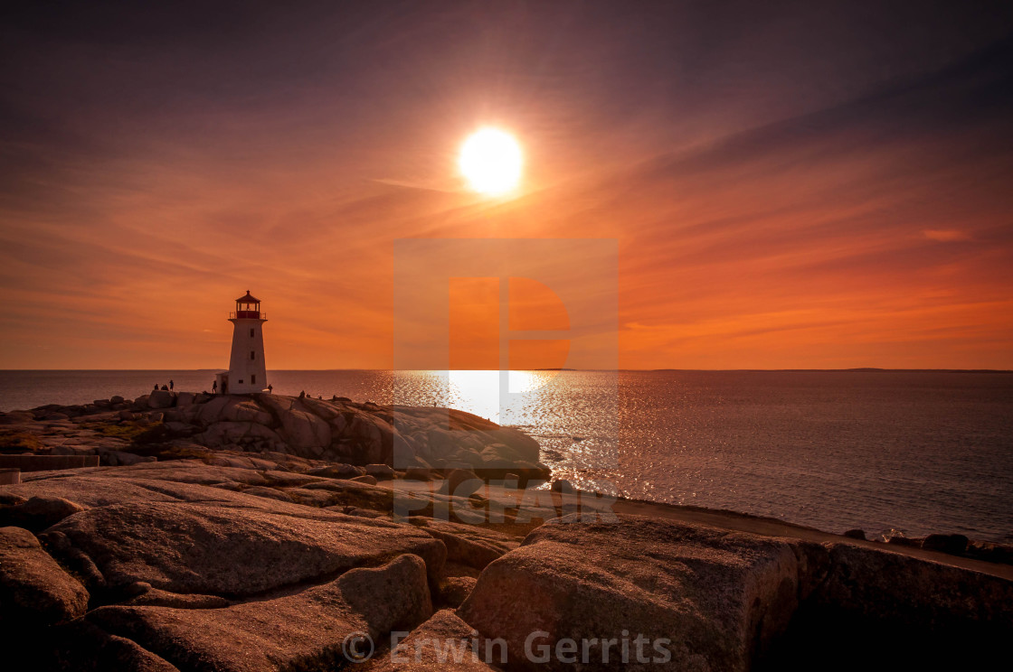 """Peggy's Cove at sunset"" stock image"
