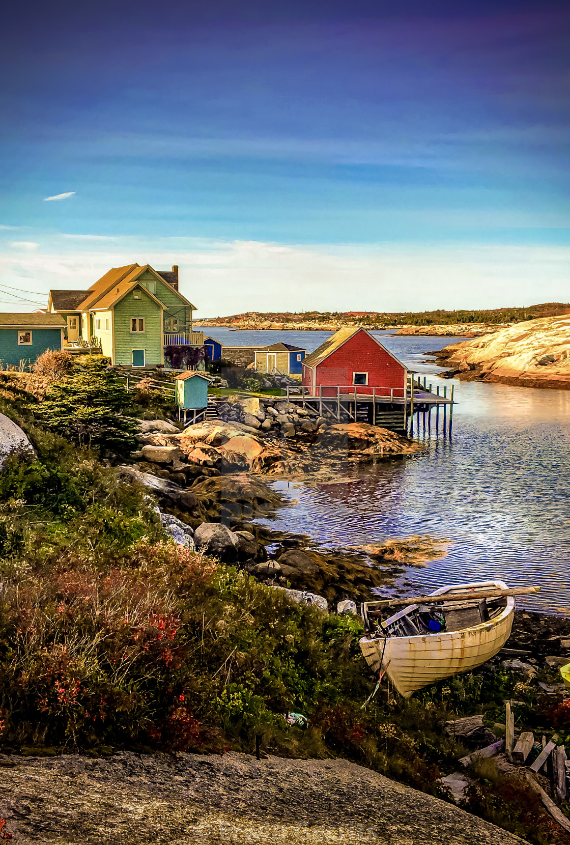 """Nova Scotia's Peggy's Cove at sun down"" stock image"