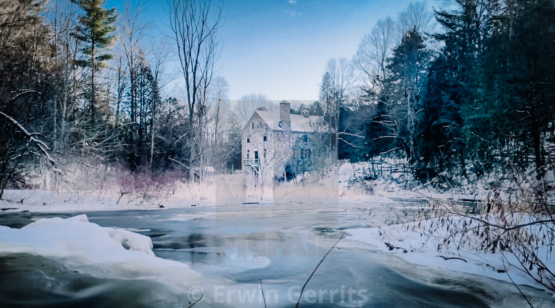 """Mill of Kintail on perfect Ontario winter day"" stock image"