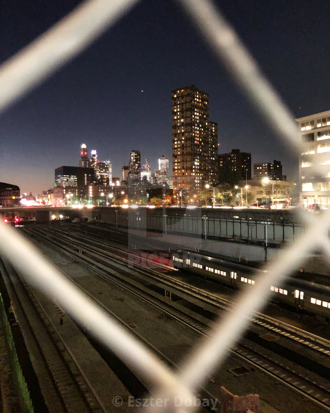 """Downtown Brooklyn night view"" stock image"