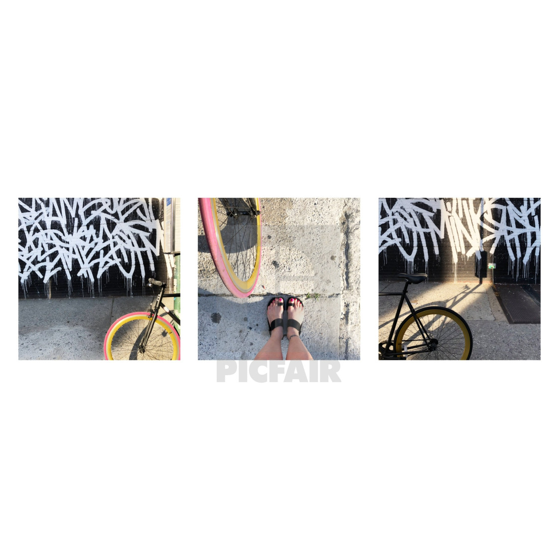 """Graffiti bike tryptic"" stock image"