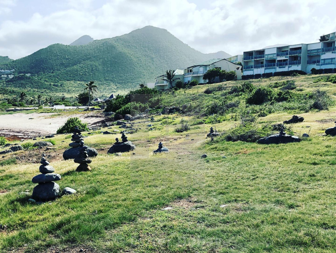 """Cairns of St. Martin"" stock image"