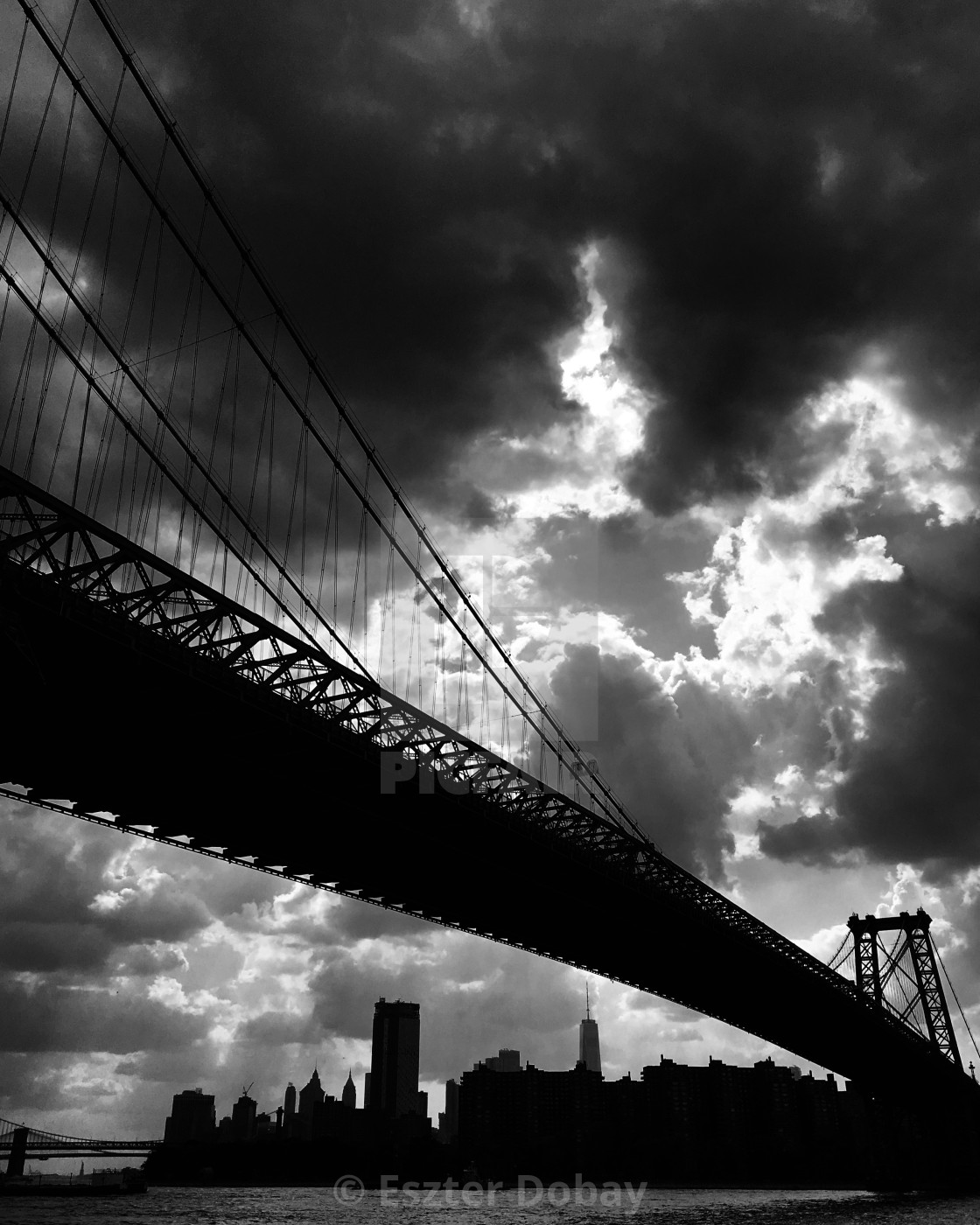 """Manhattan Bridge with city view, NYC, 2019"" stock image"