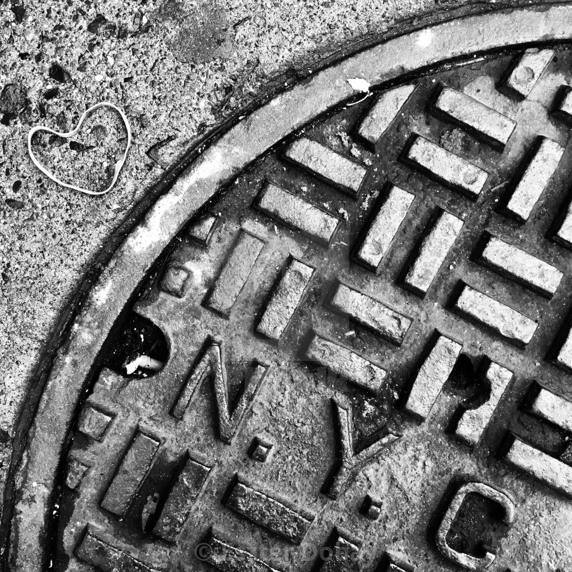 """I love NYC Manhole, 2019"" stock image"