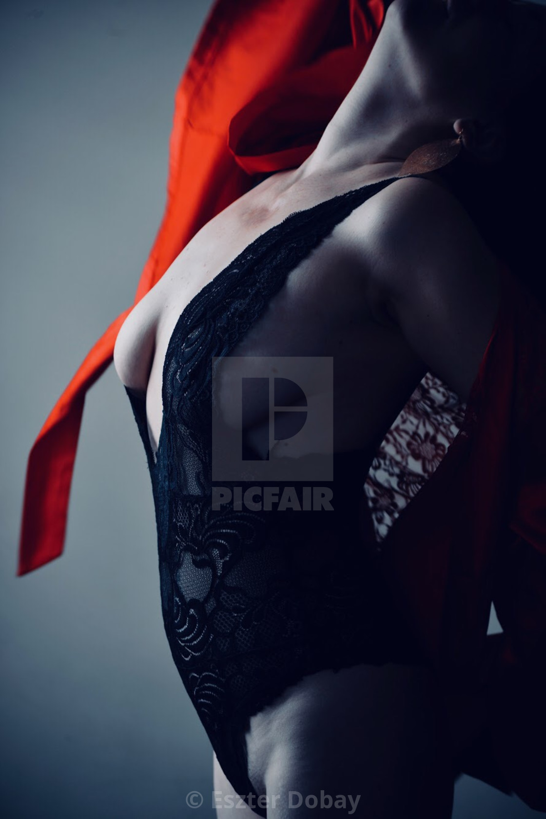 """Woman torso with red, 2019, NY"" stock image"