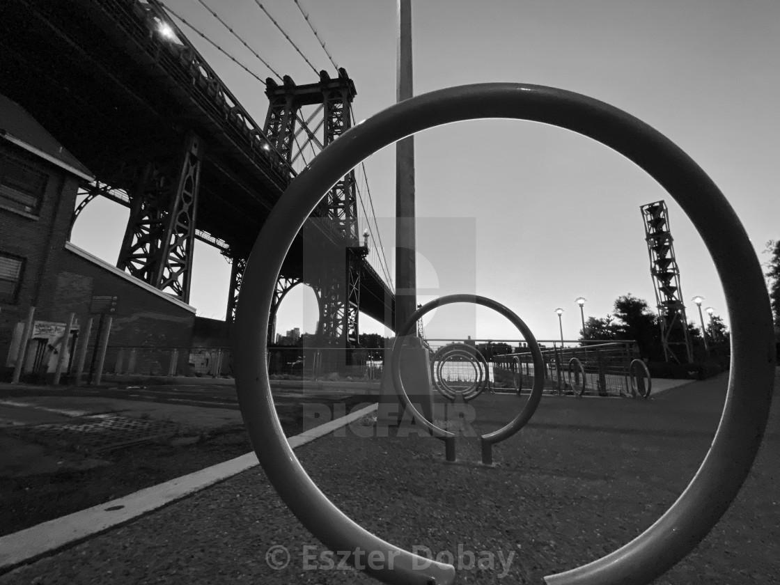 """""""Williamsburg Bridge from Domino Park, 2020, NY"""" stock image"""