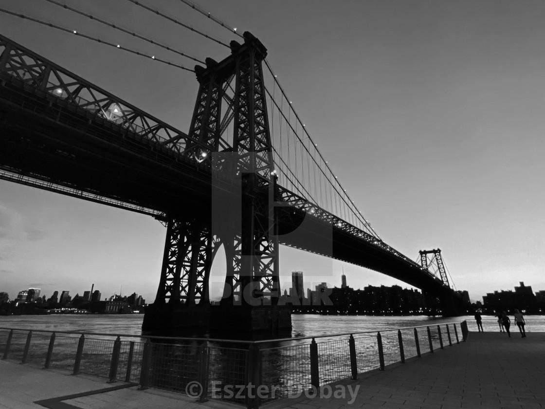 """""""Williamsburg Bridge, after sunset, 2020, NY"""" stock image"""