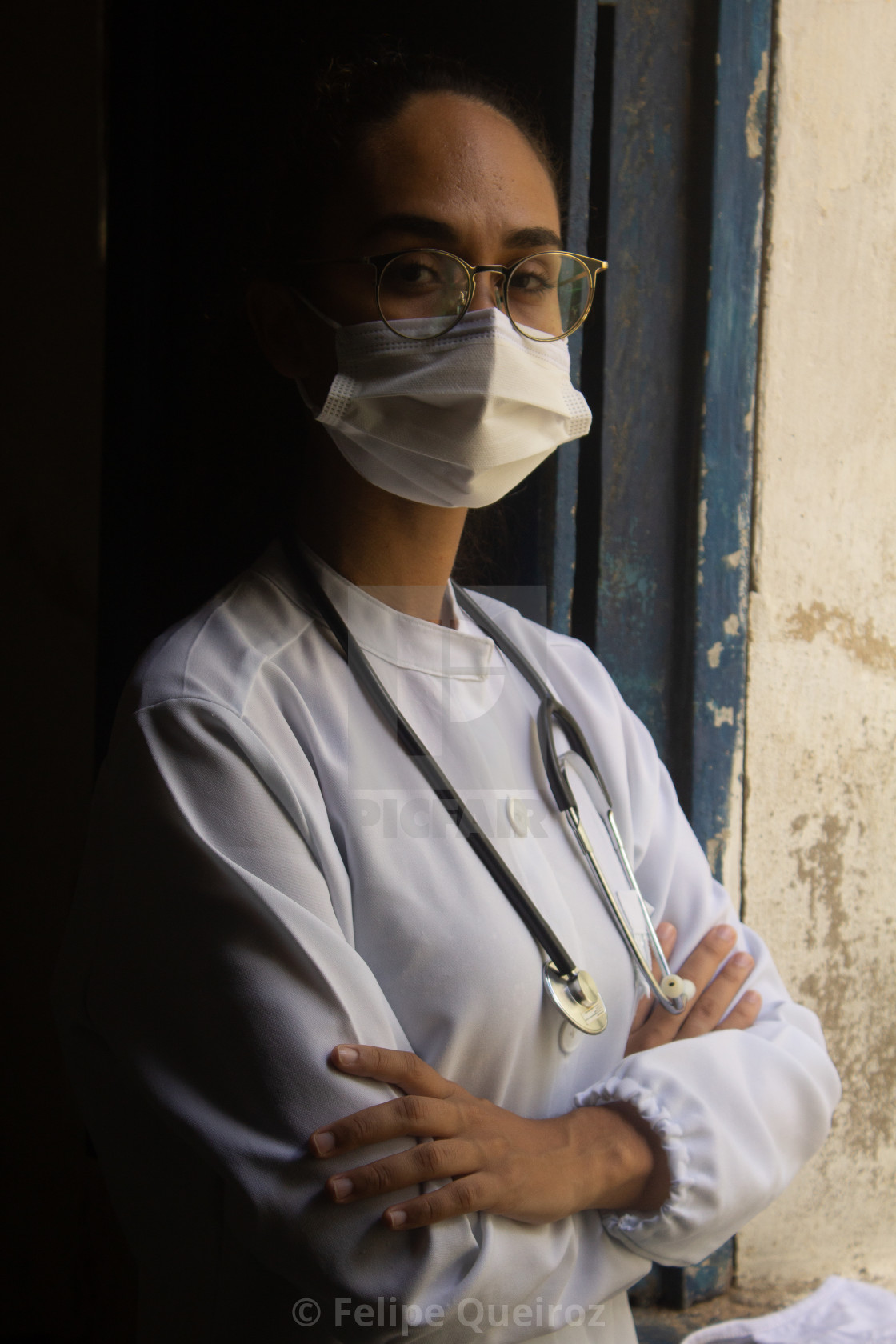 """""""Young medical woman wearing mask 3"""" stock image"""