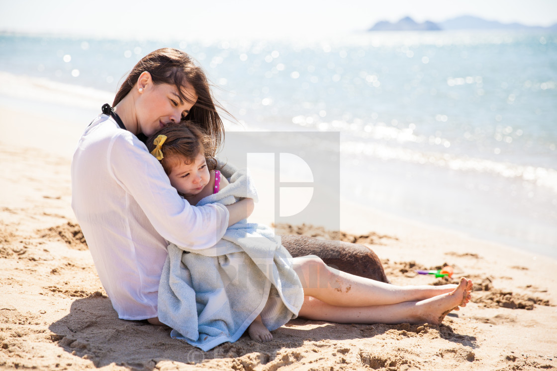 """Loving mother at the beach"" stock image"