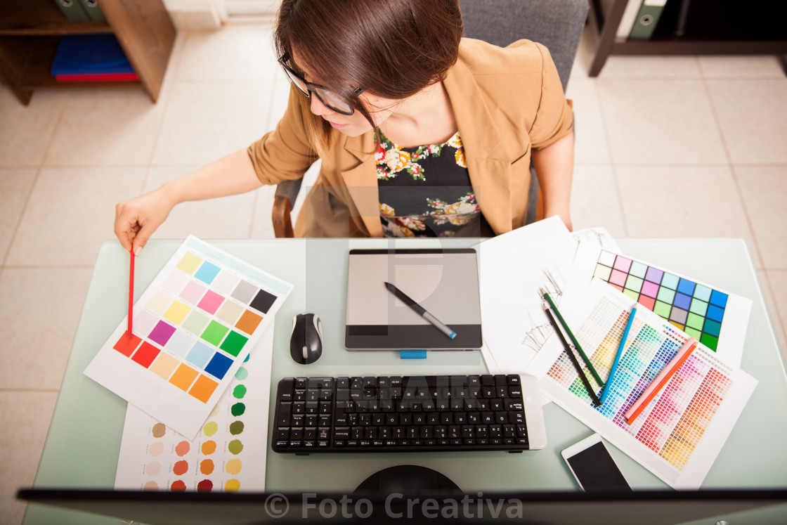 """Doing some design work"" stock image"