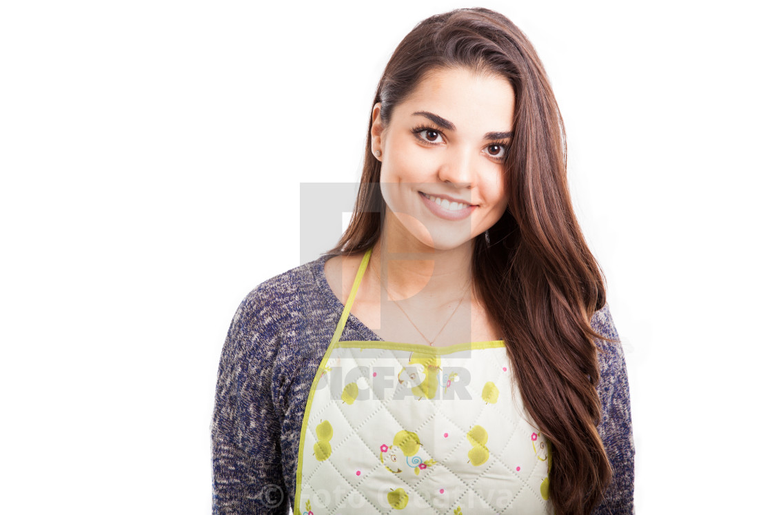 """Portrait of a woman in apron"" stock image"