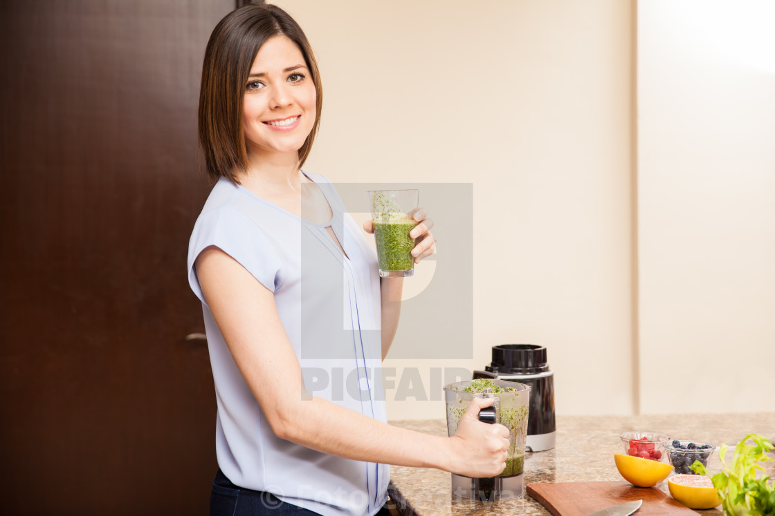 """Drinking green juice is good for you"" stock image"